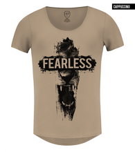 mens lion t-shirt beige scoop neck
