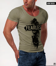 "Angry Lion Men's T-shirt ""Fearless"" Khaki Beige Gray Top / Color Option / MD802"