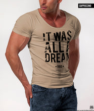 "Men's Slogan T-shirt ""It Was All a Dream"" Khaki Gray Beige Tees / Color Option / MD804"