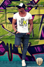 scoop neck graphic muscle fit tees