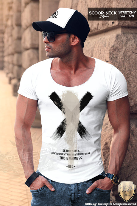 Men's T-shirt Destiny Slogan Scoop Neck Painting FX MD818