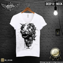 deep v neck flowers skull shirts