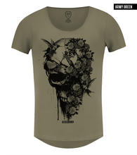 Men's Designer Flowers Skull T-shirt Khaki Gray Beige Scoop neck Tee / Color Option / MD827