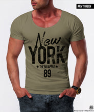"Men's T-shirt ""The Big Apple"" NYC Graphic Tee Scoop Crew Neck/ Color Option / MD828"