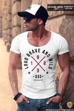 Men's White T-shirt Loud Brave and Wild RED MD871R