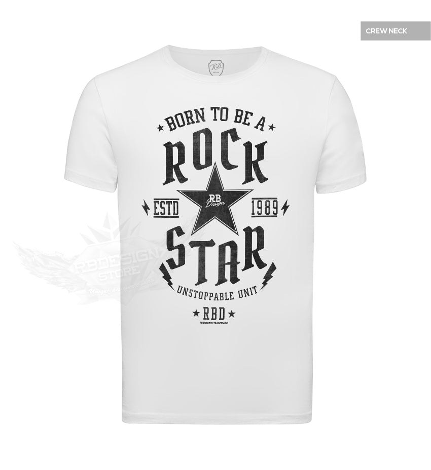 Mens White T-shirt Born To Be a Rock Star MD873