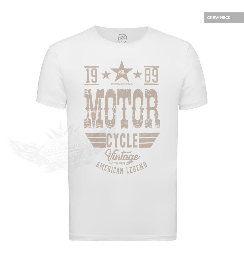 Mens Vintage Motorcycle White T-shirt MD875