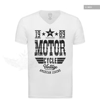 American Legend Men's Vintage Motorcycle White T-shirt MD875B
