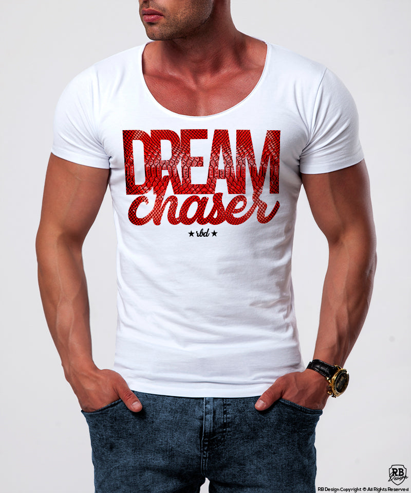 1c73dd659614 Dream Chaser Mens White T-shirt Slim Fit Motivation Tee MD877 – RB ...