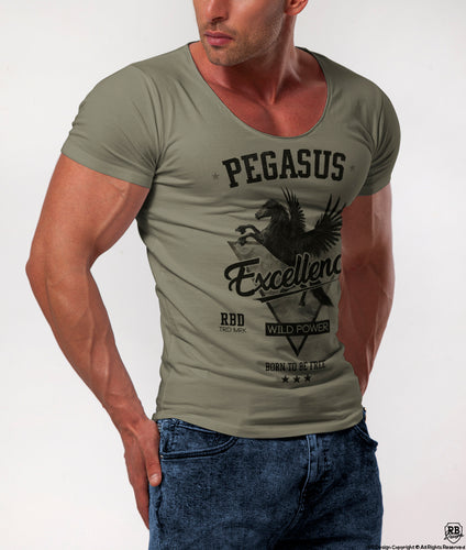 pegasus graphic t-shirt rb design khaki