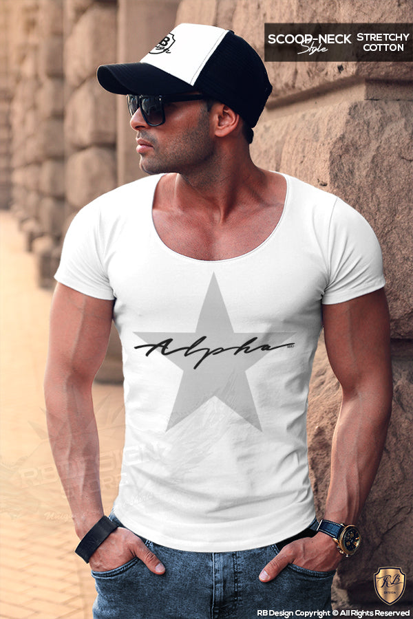 Men's Casual Fashion T-shirt Alpha Male Slim Fit Tee Gray Star MD885G