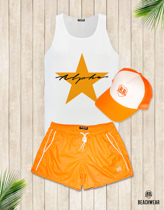 Bundle 3 - Orange Beach Shorts + Orange Hat + Tank Top MD885