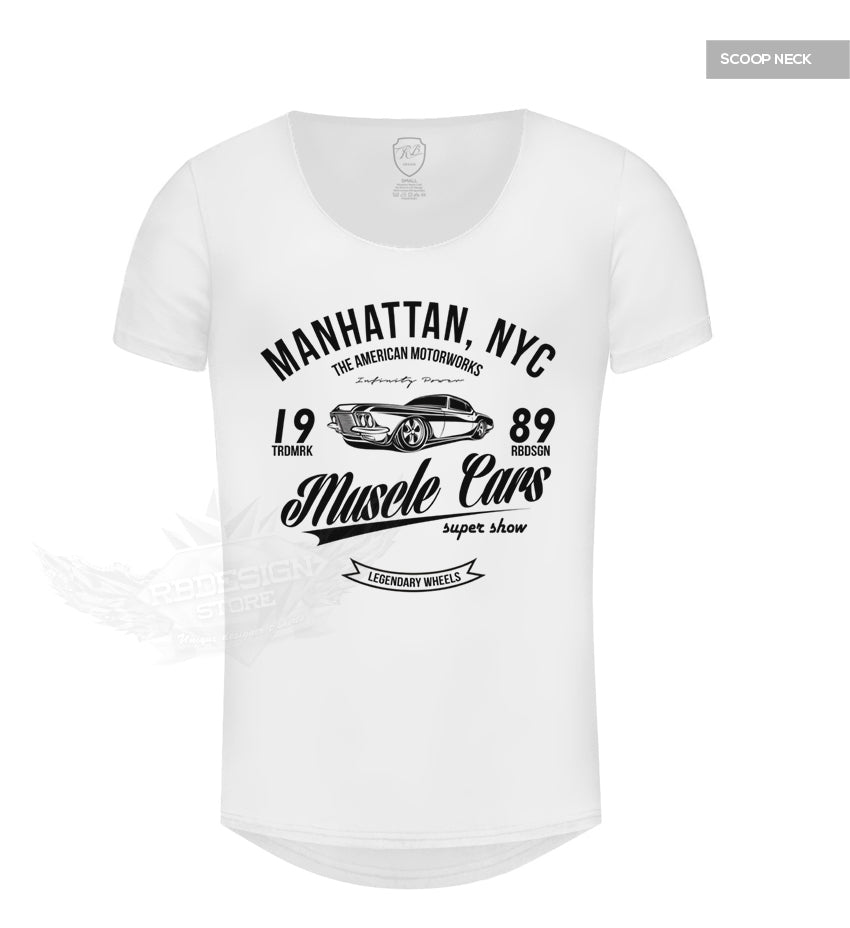 Cool Men's Muscle Cars White Graphic T-shirt MD886B