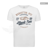 Men's Muscle Cars White Graphic T-shirt Blue/Beige MD886BB