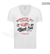 Men's Muscle Cars White Graphic T-shirt RED MD886R