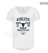 "Men's Stylish White T-shirt ""Unstoppable"" Bull Skull Graphic Tee MD889B"
