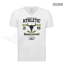 "Stylish Men's White T-shirt Bull Skull Graphic Tee ""Unstoppable"" MD889"