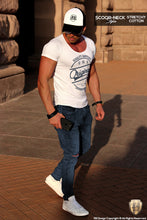 "Casual Men's White RB Design T-shirt ""Originals"" Jeans Blue MD890BL"