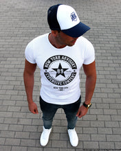 Street Fashion Mens White T-shirt NY Advisory BLACK MD891B