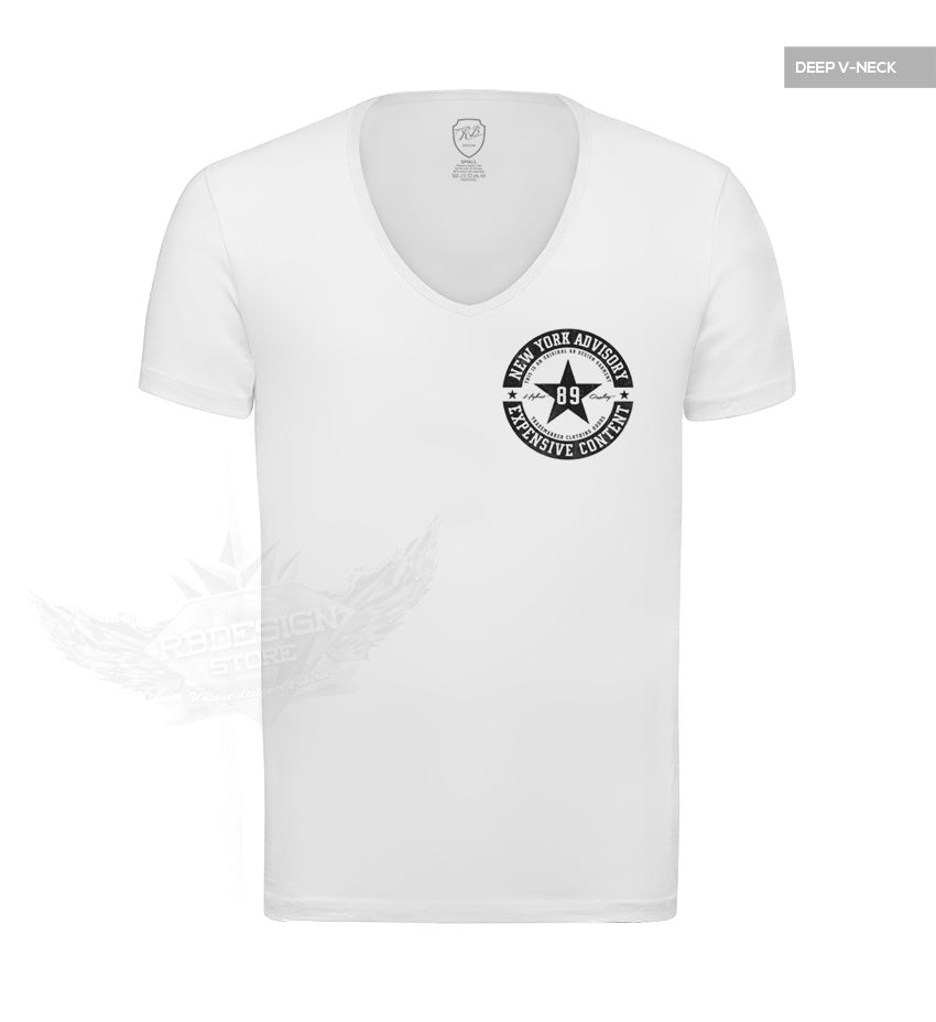 Casual Mens Deep V-neck White T-shirt Pocket Style