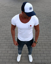 Men's White T-shirt Arrow and Rose Pocket Style MD894