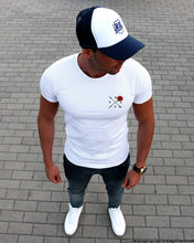 Limited Edition Mens White Scoop Neck T-shirt Rose and Arrow MD894 B