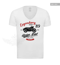 "Retro Motorcycle Men's T-shirt Vintage Style Graphic Tee ""Legendary Riders"" MD898R"