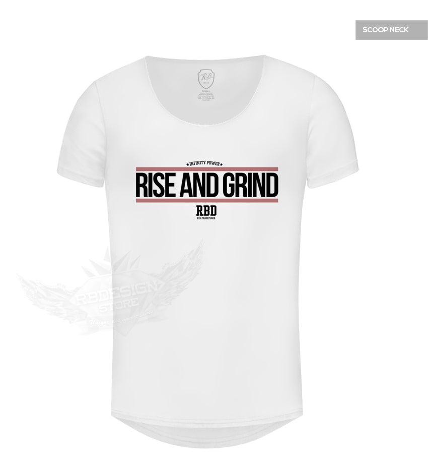 Muscle Mens White T-shirt Rise and Grind MD905