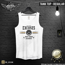 "Men's Training Tank Top ""Excuses Don't Burn Calories"" MD907 Yellow"
