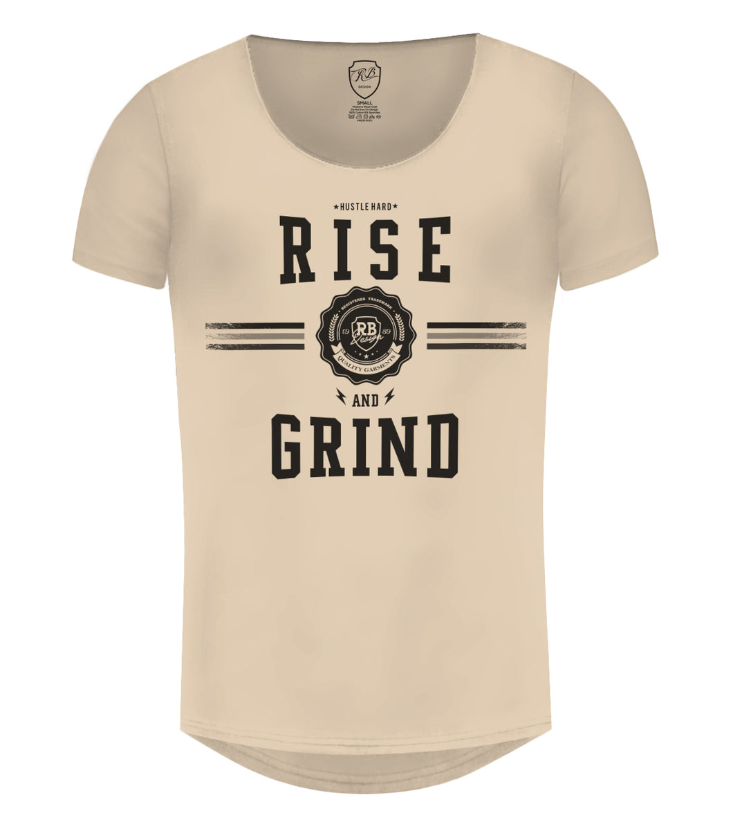 Rise and Grind Men't T-shirt Muscle Fit Stretch Cotton Tee / Color Option / MD908