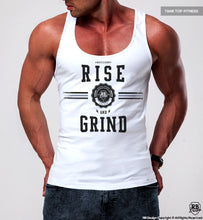 "Men's Training Tank Top ""Rise and Grind"" MD908 Blue"