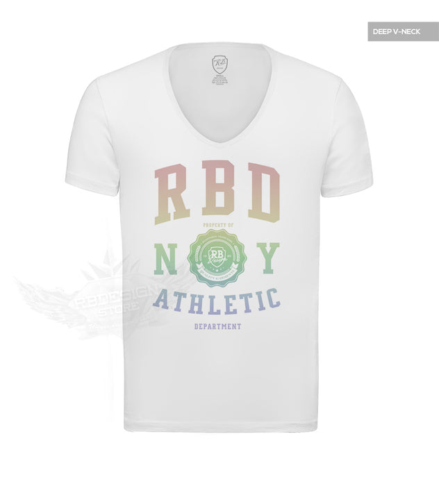 Men's Casual Fashion White T-shirt Finest Quality RB Design Tee Rainbow MD915R