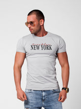 "Men's T-shirt ""New York Brooklyn"" Khaki Gray Beige / Color Option / MD923"