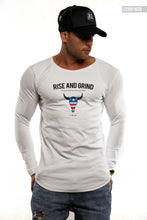 "Mens Long Sleeve T-shirt ""Rise and Grind"" MD932"