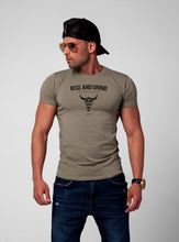 "Men's T-shirt ""Rise and Grind"" Khaki Gray Beige / Color Option / MD932"