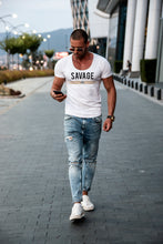 "Casual Men's T-shirt ""SAVAGE RBD"" MD935 Beige"