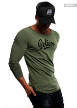 "Mens Long Sleeve T-shirt ""Believe"" MD949"