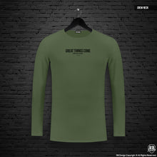 "Mens Long Sleeve T-shirt ""Great things come with the hustle"" MD973"