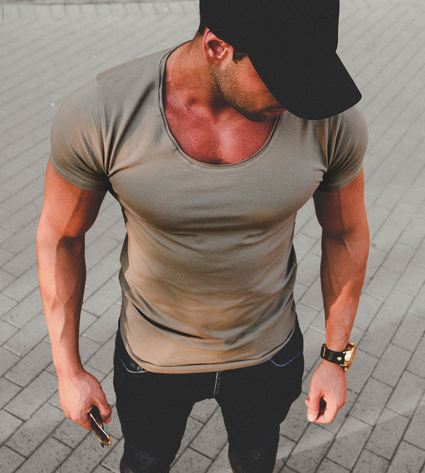 Men's Plain Army Green Scoop Neck T-shirt
