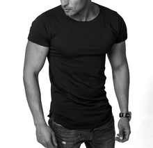 Men's Plain Black Round Neck T-shirt - Longline Tee