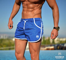 Blue Men's Swimming Shorts With White Borders BW02SB