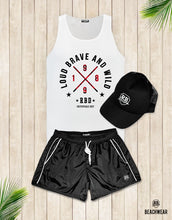 Bundle 3 - Black Beach Shorts + Black Hat White Logo + Tank Top MD871