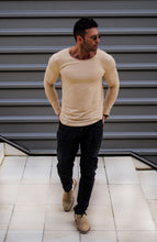 Мen's Beige Scoop Neck Long Sleeve T-shirt