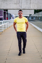 Men's Plain Yellow Crew Neck T-shirt