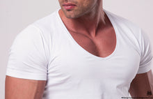 Men's Plain White Deep V-Neck T-shirt