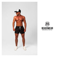 Bundle Black Mens Swimming Shorts + Black/White Hat BW01BWH