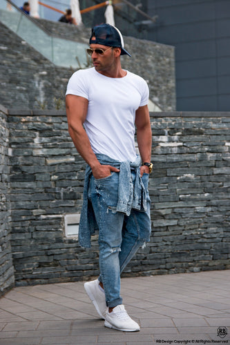 Men's Round Neck White T-shirt Long Fit 2019