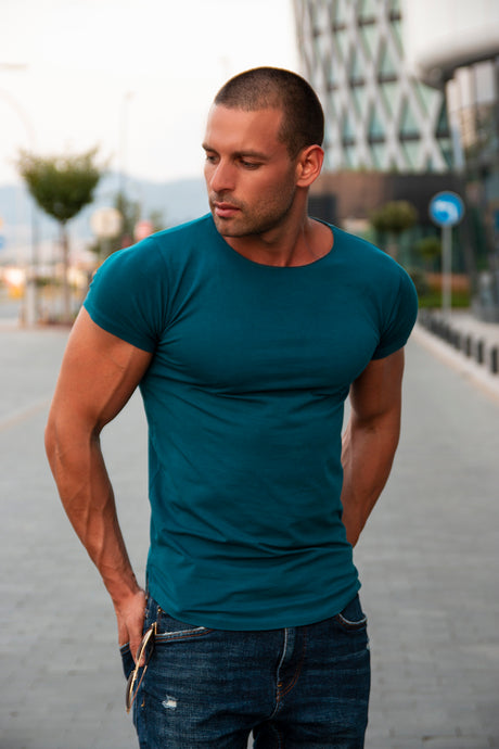 Men's Plain Ocean Blue Round Neck T-shirt - Long Fit Tee