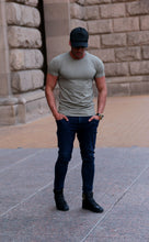 Men's Plain Khaki Crew Neck T-shirt - Army Green Tee