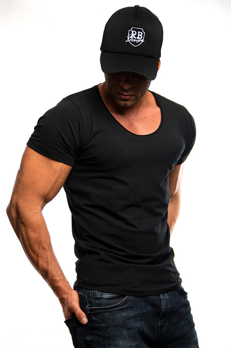 Men's Plain Black Scoop Neck T-shirt